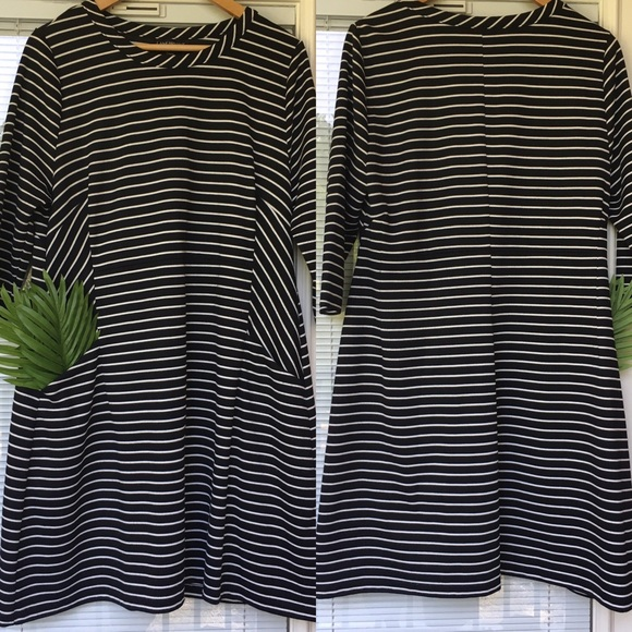 Lane Bryant Dresses & Skirts - Lane Bryant Striped Dress, Black/White, Pockets